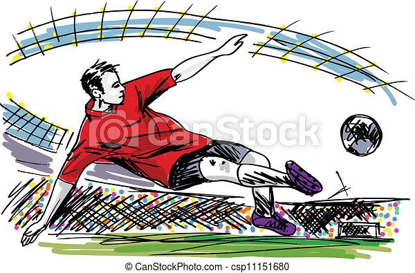 Jugador de fútbol pateando pelota. Vector - csp11151680