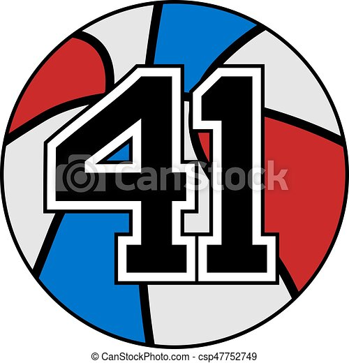 41 >> Creative Design Of Ball Of Basketball Symbol With Number 41