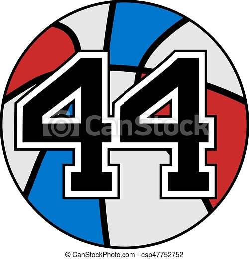 ball of basketball symbol with number 44 - csp47752752
