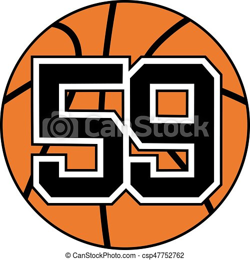 ball of basketball symbol with number 59 - csp47752762