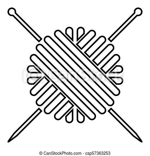 ball of wool yarn and knitting needles clipart vector csp57363253