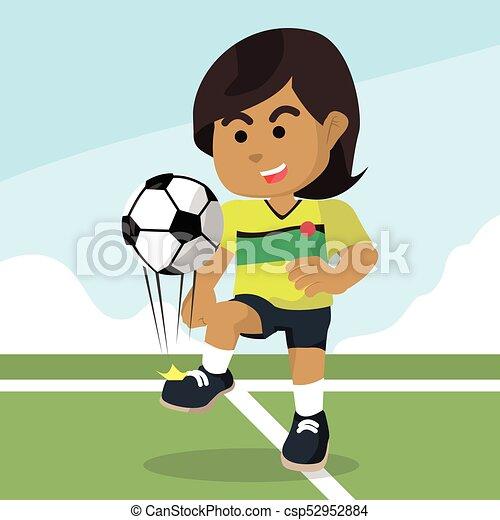 Ball Spieler Jonglieren Weiblicher Afrikaner Fussball