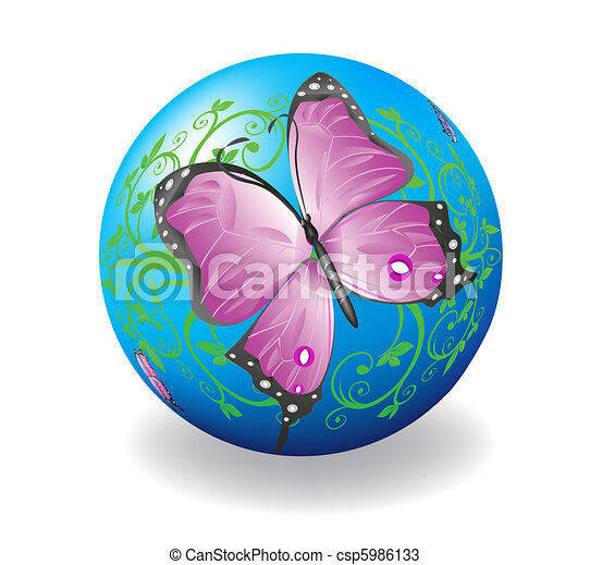Ball with the image of a butterfly. - csp5986133
