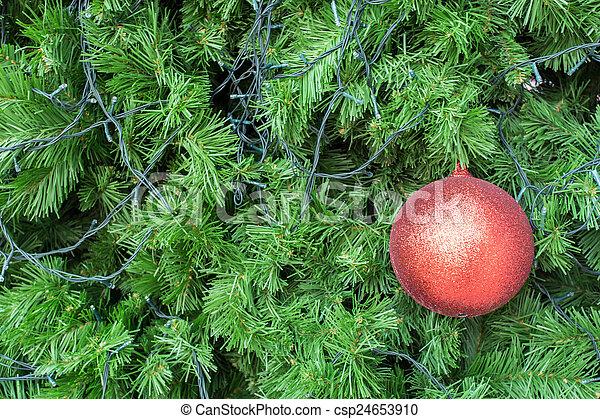 balle, arbre, noël, fond, rouges - csp24653910