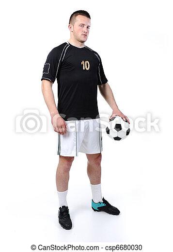 balle, football, isolé, joueur, tenue, blanc - csp6680030