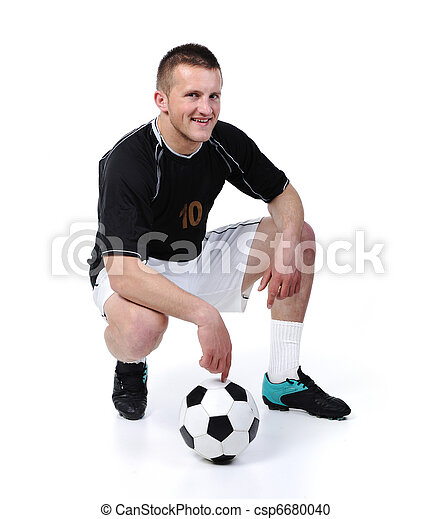 balle, football, isolé, joueur, tenue, blanc - csp6680040