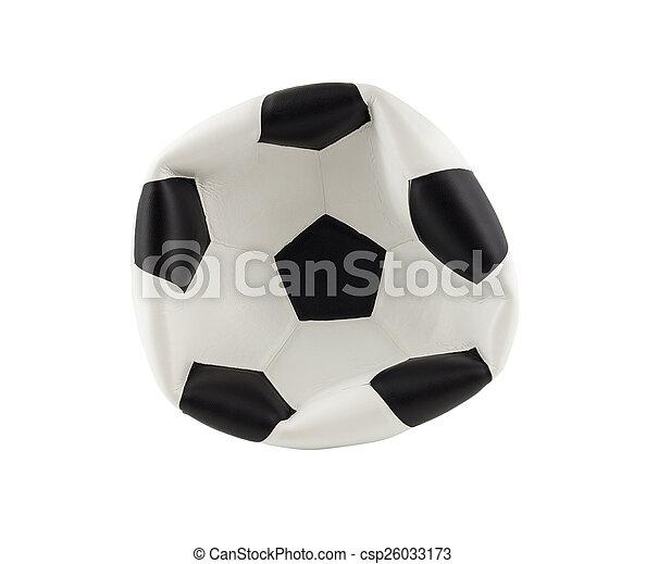 balle, isolé, fond, dégonflé, blanc, football - csp26033173