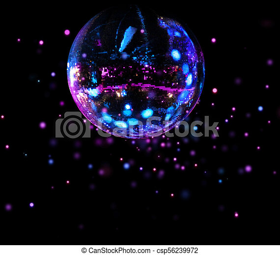 balle, lumière colorée, taches, disco, miroir - csp56239972