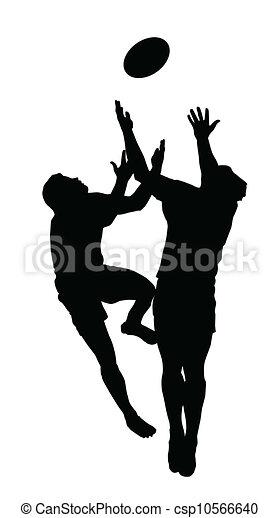 balle, silhouette, football, -, haut sauter, prise, rugby, sport - csp10566640