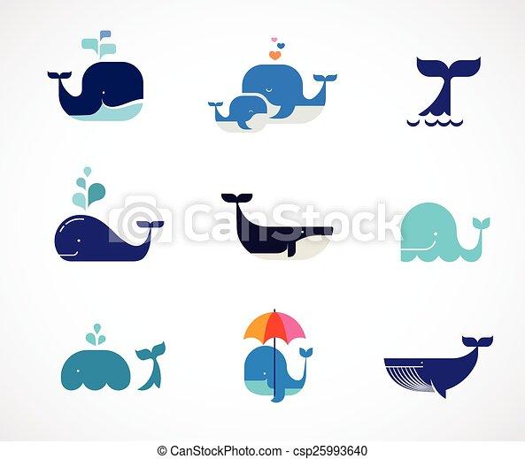 ballena, vector, colección, iconos - csp25993640
