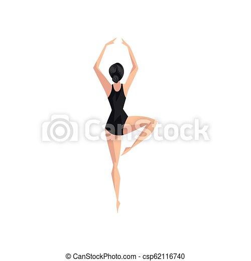 ballerina, balletto, classico, ballerino, giovane, illustrazione, leotard, vettore, sfondo nero, professionale, bianco - csp62116740