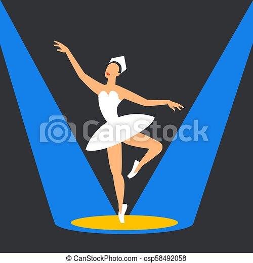 ballerina, balletto, stage., ballo, immagine, highlights., stile, appartamento, scuro, fondo., ballerino - csp58492058