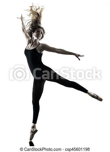 Ballerina dancer dancing woman  isolated silhouette - csp45601198
