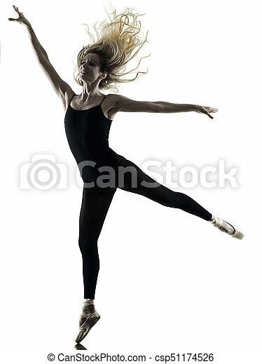 Ballerina tänzerin tanzfrau isolierte silhouette. Eine