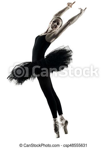 ballerina, frau, silhouette, tanzen, freigestellt, tänzer