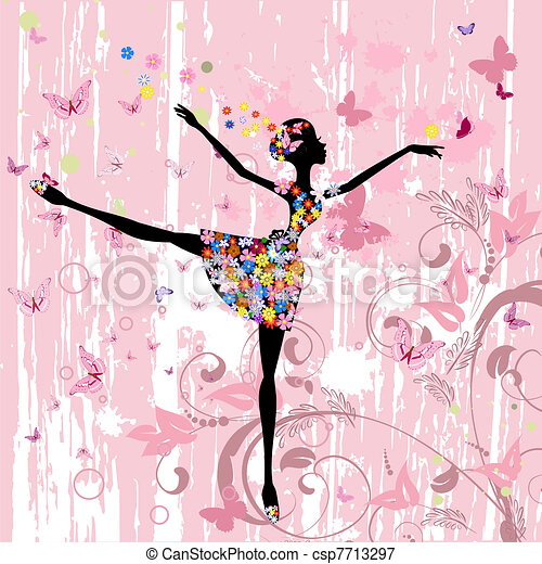ballerina girl with flowers with butterflies grunge - csp7713297