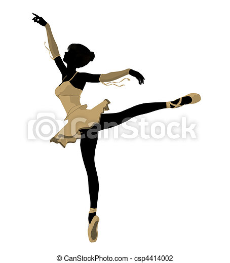 Ballerina Illustration Silhouette - csp4414002