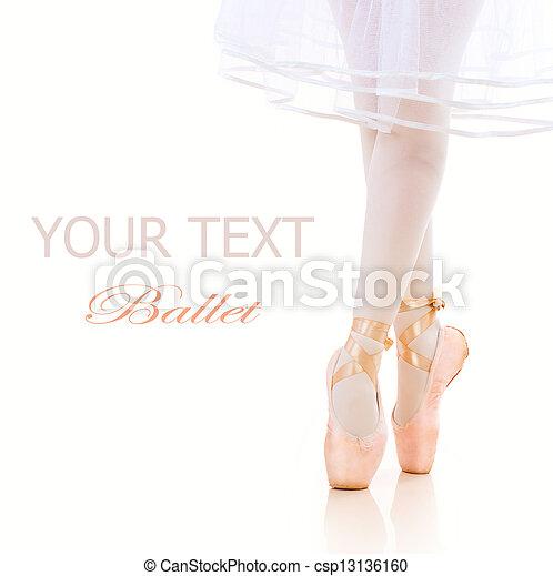 Ballerina Legs closeup. Ballet Shoes. Pointe - csp13136160