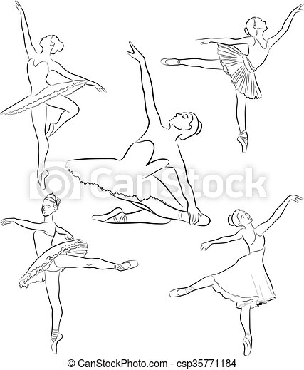 Ballerinas collection, line drawing - csp35771184