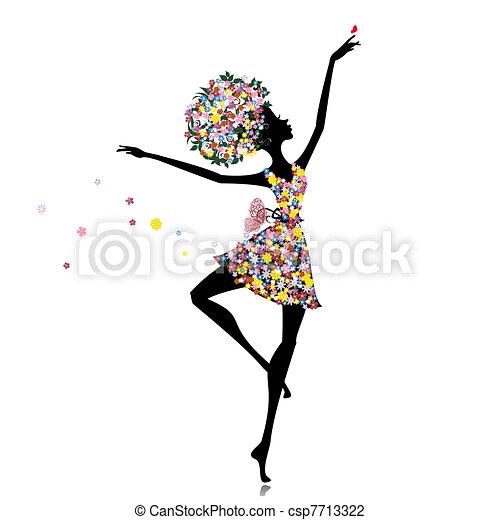 ballerine, girl, fleur - csp7713322