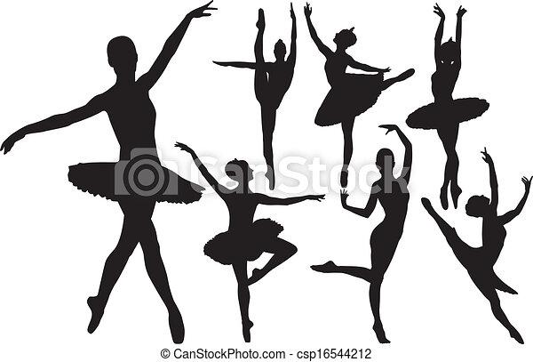 ballerine, silhouettes, vecteur - csp16544212