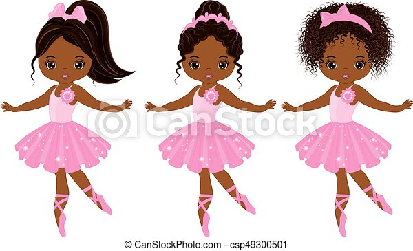 ballerines, peu, mignon, américain, vecteur, divers, africaine, coiffures - csp49300501