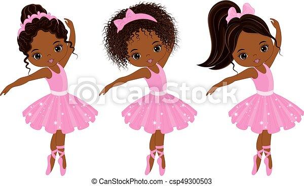 ballerines, peu, mignon, américain, vecteur, divers, africaine, coiffures - csp49300503