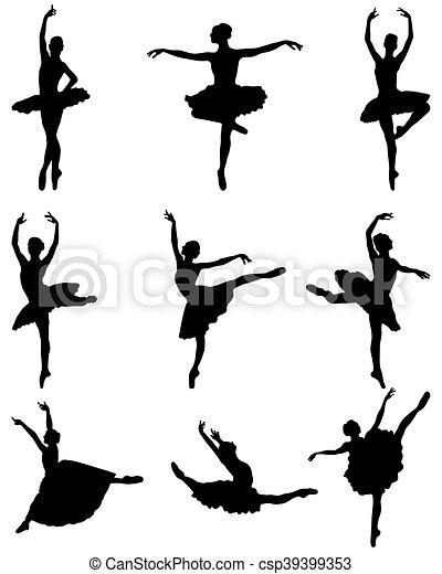 ballerines, silhouettes - csp39399353