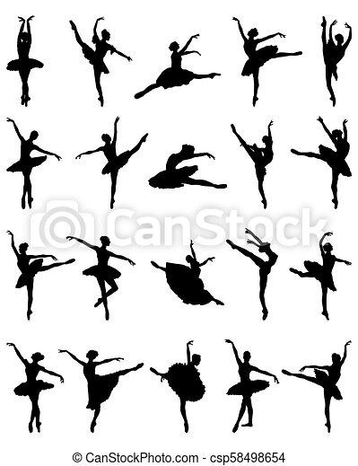 ballerines, silhouettes, noir - csp58498654