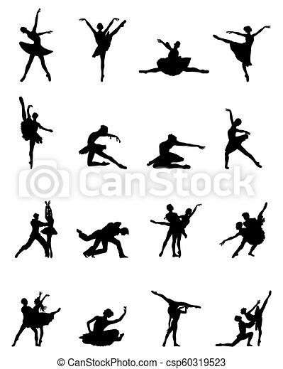 ballerines, silhouettes, noir - csp60319523