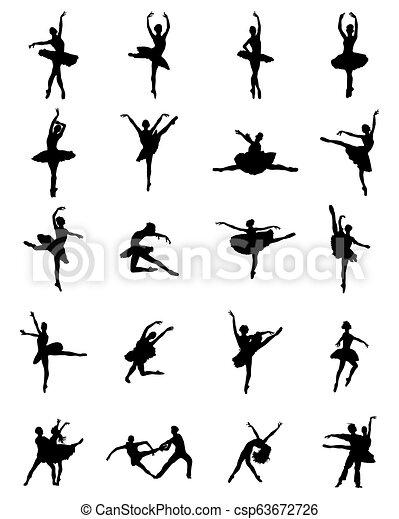 ballerines, silhouettes, noir - csp63672726
