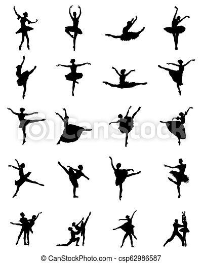 ballerines, silhouettes, noir - csp62986587