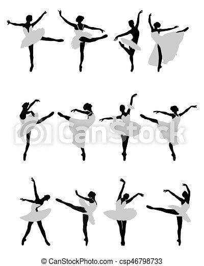 ballerines, silhouettes - csp46798733
