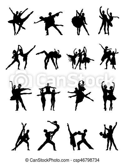 ballerines, silhouettes - csp46798734