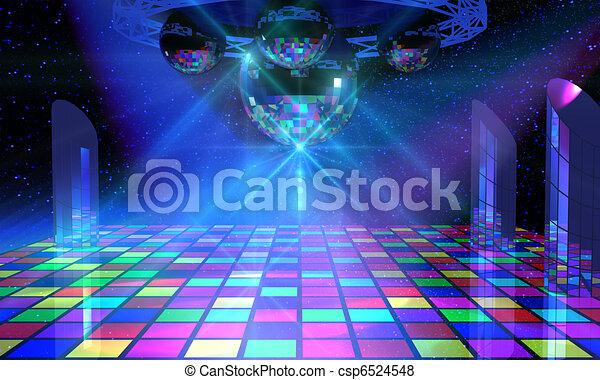 balles, coloré, plancher, danse, miroir, plusieurs, briller - csp6524548