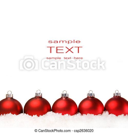 balles, isolé, neige blanc, noël, rouges - csp2636020