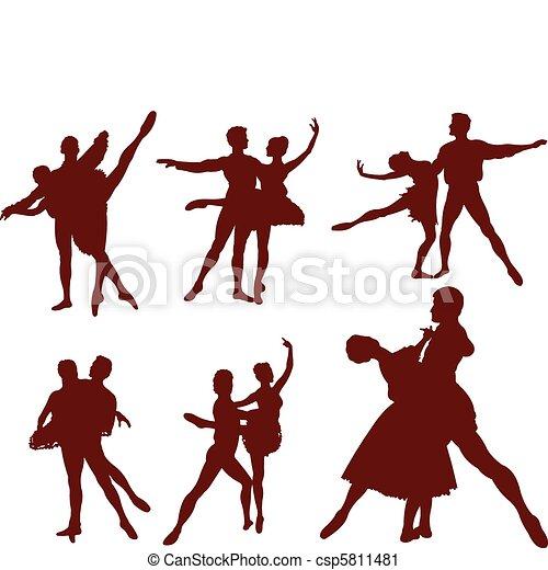 Ballet couple silhouettes - csp5811481