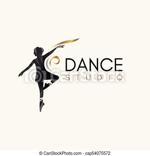 Ballet dance studio logo template element symbol with luxury ...