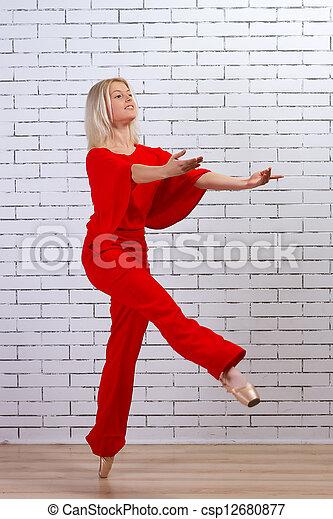 Ballet dancer (ballerina) dancing - csp12680877