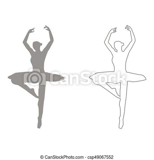 Ballet dancer set icon .