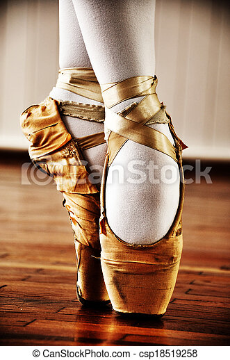 Ballet dancer with old shoes - csp18519258