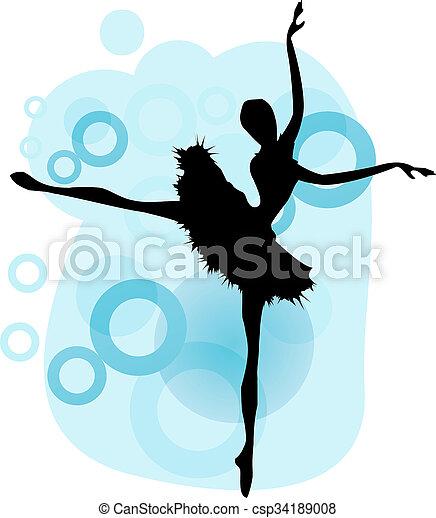 Ballet dancer.Beautiful dancing woman, vector ballerina silhouette 01 - csp34189008