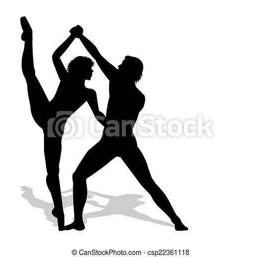 ballet dancers silhouette - csp22361118