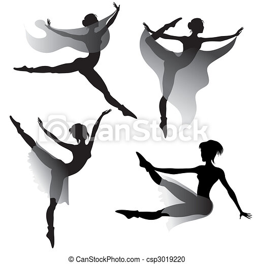 ballet-dancers silhouettes  - csp3019220
