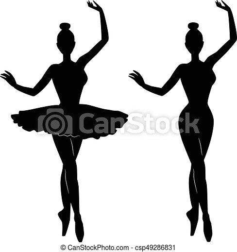 ballet danser, silhouette, vrouw - csp49286831