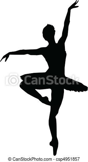 Tanzmädchen, Ballett-Silhouette - Vektor - csp4951857