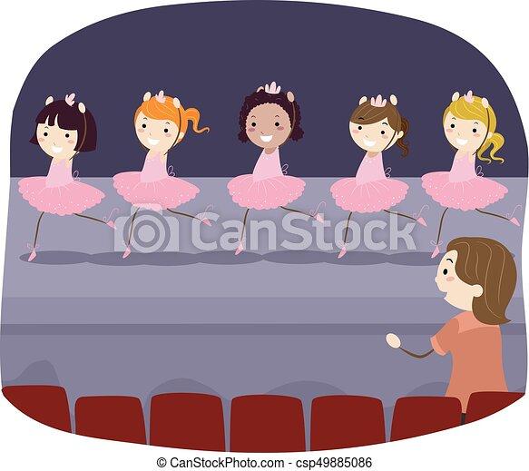 balletto, bambini, stickman, ragazze, prova, vestire - csp49885086