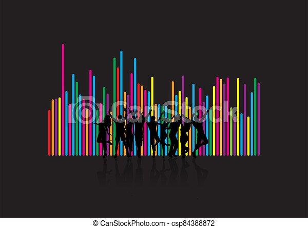 ballo, persone fondo, silhouette, soundwave, 1708 - csp84388872