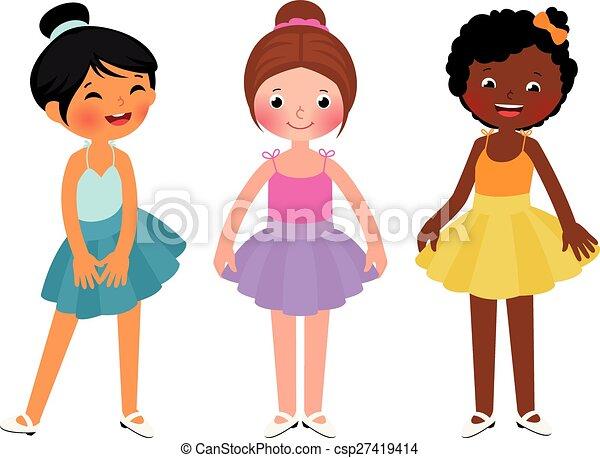 ballo, piccole ragazze, differente, etnico - csp27419414