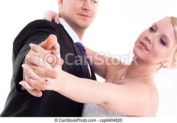 ballo, sposo, mano, sposa, presa a terra, godere - csp6404820
